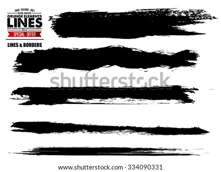 Set of grunge and ink stroke lines. vector template - easy to use - stock vector