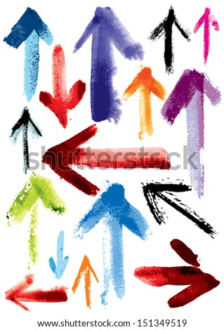 Set of grunge arrows; imitation of watercolor, wash drawing - stock vector