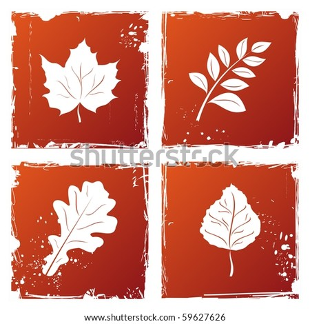 Set of grunge autumn leaves. Vector - stock vector