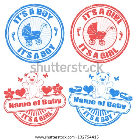 Set of grunge baby boy and baby girl rubber stamps, vector illustration - stock vector