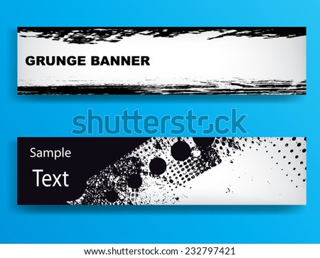 Set of Grunge Banners. Distress Banner Collection . Grungy Banner Set . Retro Banners. Vintage Header . Abstract Modern Textured Banner . Vector Illustration .  - stock vector
