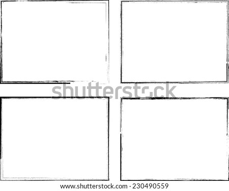 Set of Grunge Black and White Frames . Distress Border Frame Collection . Vector Frames for your Design .  - stock vector