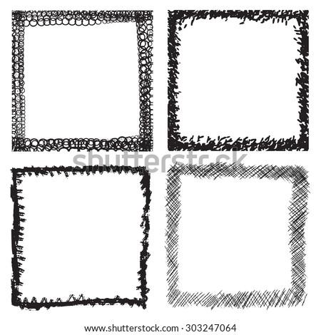 Set Grunge Black White Frames Distress Stock Vector 303247064 ...