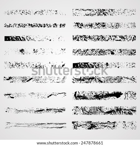 Set of Grunge Borders. Grunge Brushes Collection. Vintage Background. Vector Illustration. Distress Texture. Scratch Stripes.   - stock vector