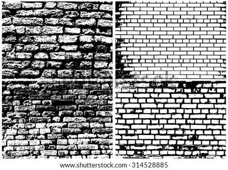 Set of Grunge Brick Wall Backgrounds in Black and White Colors. Vector Illustration. - stock vector