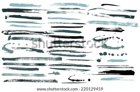 Set of grunge brushes / ink strokes vector - stock vector