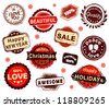Set of grunge Christmas labels - stock vector