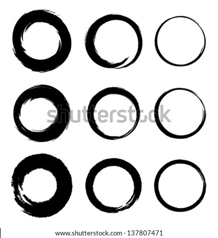 Set of Grunge Circle Stains, vector illustration - stock vector