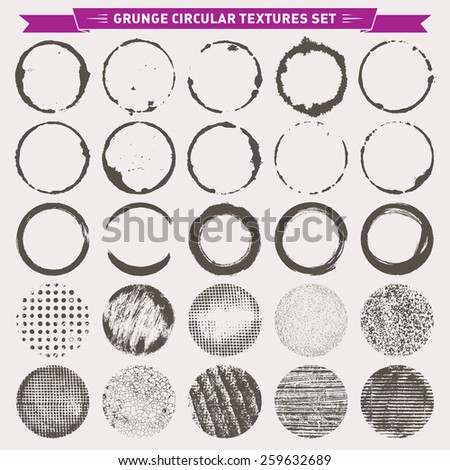 Set of grunge circular abstract texture backgrounds frames vector  - stock vector