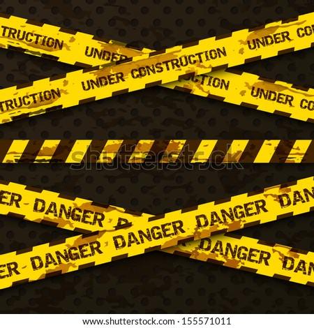 Set of grunge cross warning tapes . Danger tape, under construction tape. Vector ilustration - stock vector
