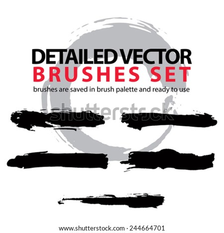 Set of grunge detailed hand-painted brushstrokes, black illustrator muddy vector strokes, unusual graphics elements. - stock vector