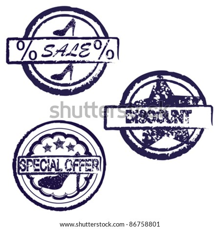 set of grunge discount stamp over white background - stock vector