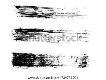 Set of grunge hand drawn brush strokes