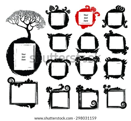Set of grunge ink paint floral frames. Circle frames as ink splashes,blotch, square borders as stamp. Vector collection of design elements. Hand drawn black watercolor backgrounds. Eps 8. - stock vector