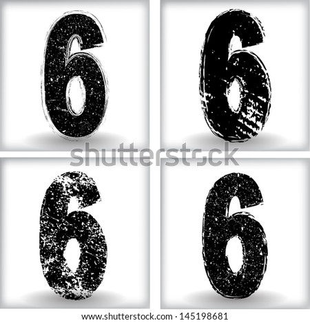 Set of grunge numbers. Vector illustration.