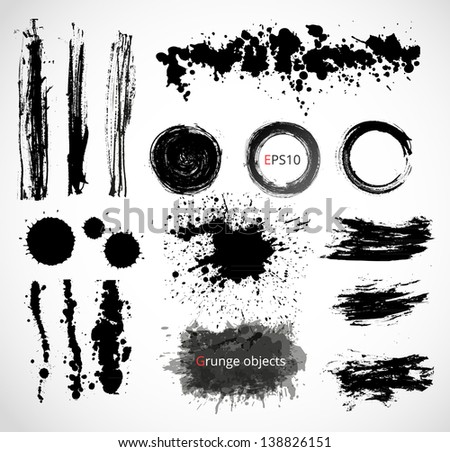 Set of grunge objects - stock vector