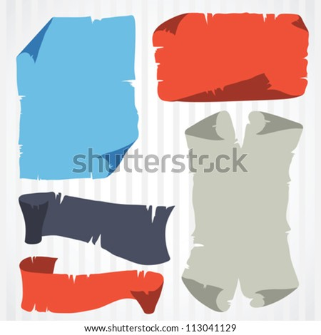 Set of grunge old banner and scrolls. - stock vector