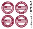 Set of grunge patriotic flag rubber stamp icons - stock vector