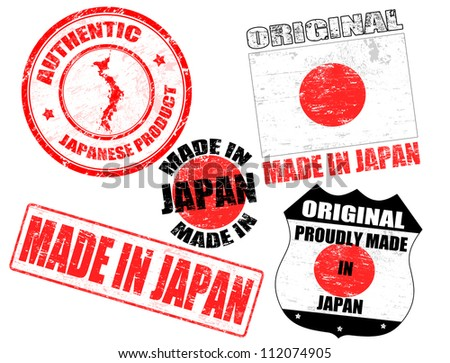 Set of grunge rubber stamp with the text made in Japan written inside, vector illustration - stock vector