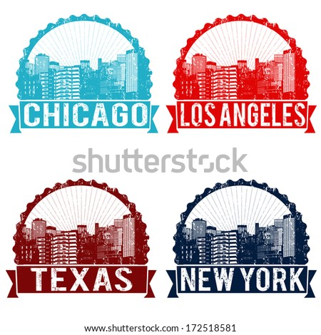 Set of grunge rubber stamps of Chicago, Los Angeles, Texas and New York on white, vector illustration - stock vector