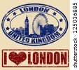 Set of grunge rubber stamps with London, vector illustration - stock vector