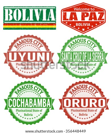 Set of grunge rubber stamps with names of Bolivia cities, vector illustration - stock vector
