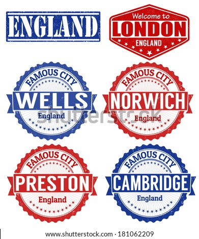 Set of grunge rubber stamps with names of England cities, vector illustration - stock vector