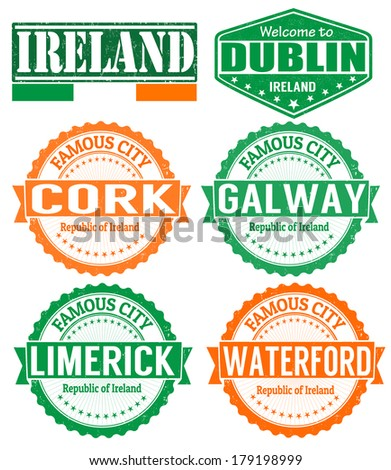 Set of grunge rubber stamps with names of Ireland cities, vector illustration