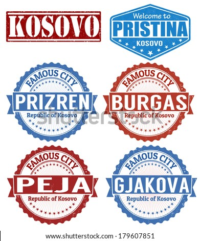 Set of grunge rubber stamps with names of Kosovo cities, vector illustration