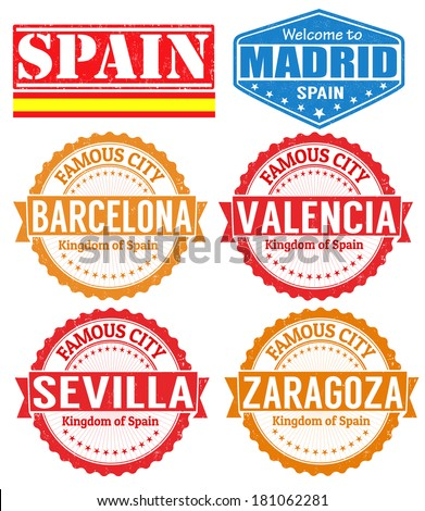 Set of grunge rubber stamps with names of Spain cities, vector illustration - stock vector