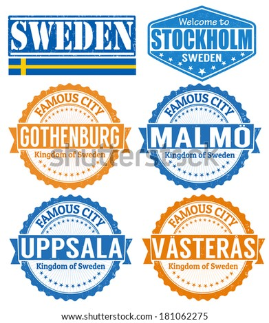 Set of grunge rubber stamps with names of Sweden cities, vector illustration
