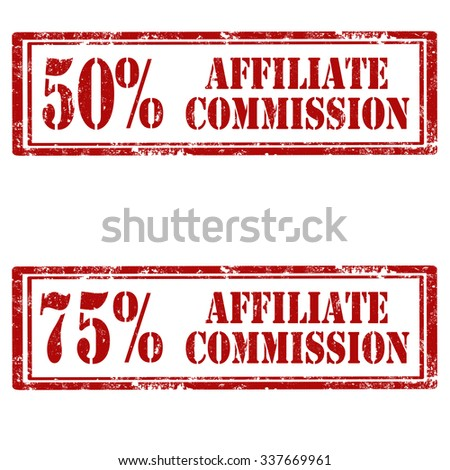 Set of grunge rubber stamps with text Affiliate Commission,vector illustration - stock vector