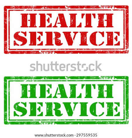 Set of grunge rubber stamps with text Health Service,vector illustration - stock vector
