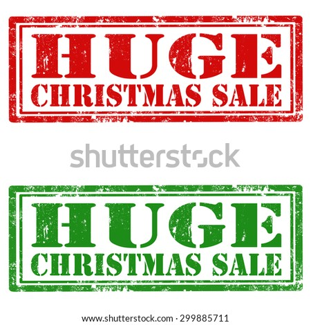 Set of grunge rubber stamps with text Huge Christmas Sale,vector illustration - stock vector