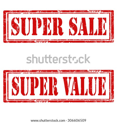 Set of grunge rubber stamps with text Super Sale and Super Value,vector illustration - stock vector