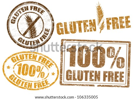 Set of grunge rubber stamps  with  the text gluten free written inside, vector illustration - stock vector