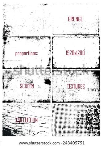 set of grunge screen frames in vector format - stock vector
