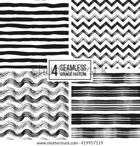 Set of grunge seamless pattern of black white stripes, waves, zigzag chevron, texture grunge monochrome lines, wavy and zig zag stripes, hand drawn vector pattern for textile, wallpaper, web, wrapping - stock vector