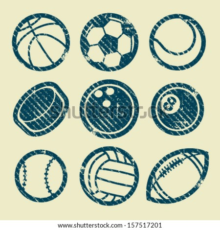 Set of grunge sport balls icons
