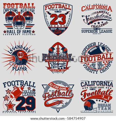 Set grunge sport tshirt graphic designs stock vector American football style t shirts