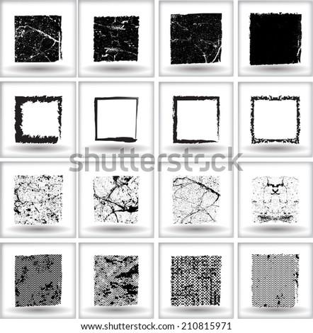 Set of grunge square shapes. Vector illustration.  - stock vector