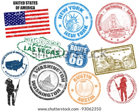 Set of grunge stamps with United States of America, vector illustration