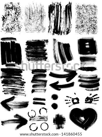 Set of grunge textures and elements - stock vector