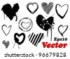 Set of grunge valentine hearts for your design - stock photo