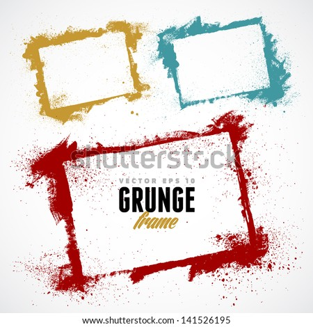 Set of grunge vector frames. Grunge background. Watercolor background. Retro background. Vintage background. Design elements. Hand drawn. Texture background. Abstract shape. Vector pack - stock vector