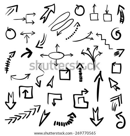 Set of grunge vector hand drawn arrows. Vector EPS10 illustration for your design. Color can be changed by one click - stock vector