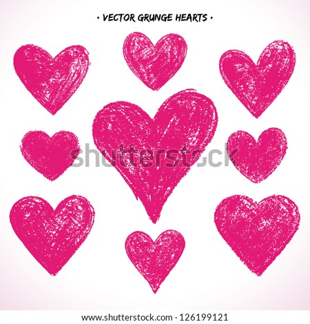 Set of grunge vector hearts. Design elements. Retro background. Vintage background. Valentine background. Abstract background. Hand drawn. Grunge heart. Abstract shape - stock vector