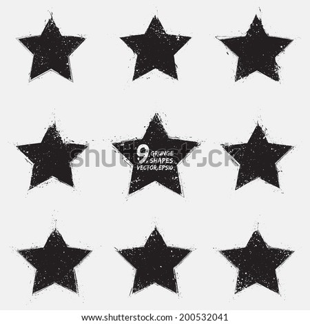 Set of 9 grunge vector stars. Design elements.  Vintage star. Retro star. Abstract vector background. Hand drawn. Retro background. Vintage background - stock vector