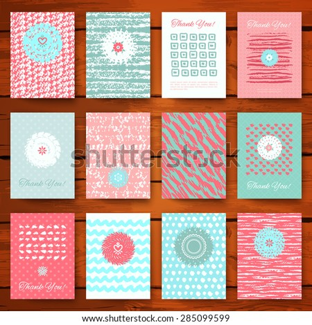 Set of grunge vintage cards with romantic hand drawn textures. Vector illustration for retro pattern design. Collection of Brochures. Posters, flyers, placards, and banners. Pink and blue colors. - stock vector