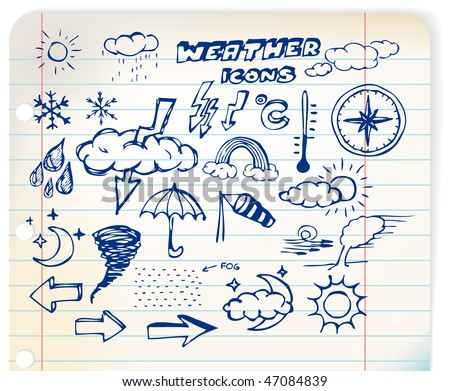 Set of grunge weather hand drawing icons on lined paper - stock vector